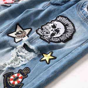 SKULL EMBROIDERY STRETCHLESS HOLE JEANS