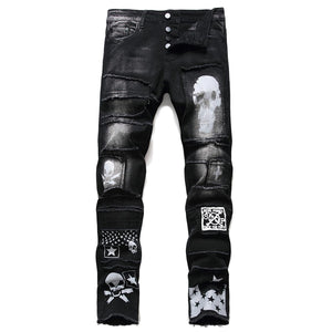 """SKULL"" PRINTED RIPPED WASH SKINNY JEANS"