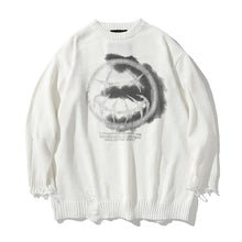 "Load image into Gallery viewer, ""DEVIL SMILEY"" PRINTED SHREDDED KNITTED SWEATER"
