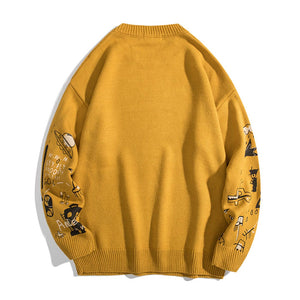 """SKY FLY"" PRINTED KNITTED SWEATER"