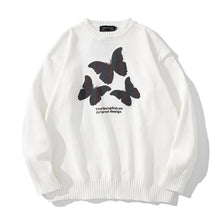 "Load image into Gallery viewer, ""3 BUTTERFLIES"" PRINTED KNITTED SWEATER"