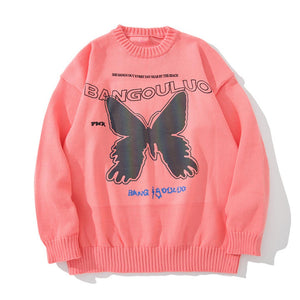 """REFLECTIVE BUTTERFLIES"" PRINTED KNITTED SWEATER"