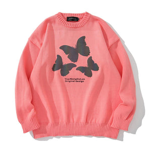 """3 BUTTERFLIES"" PRINTED KNITTED SWEATER"