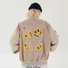 Load image into Gallery viewer, SMILEY EMBROIDERY BASEBALL JACKET