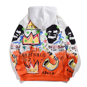 SKULL GRAFFITI PRINTED HOODIES