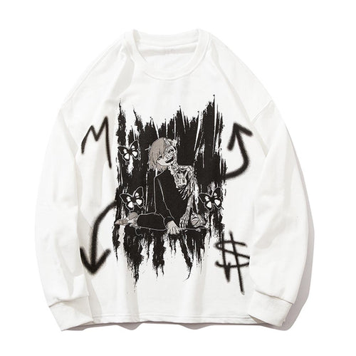 BLACK GRAFFITI PRINTED SWEATSHIRT