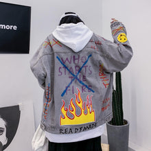 Load image into Gallery viewer, FIRE SMILEY EMBROIDERY GRAFFITI DENIM JACKET