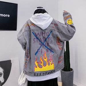 FIRE SMILEY EMBROIDERY GRAFFITI DENIM JACKET