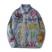 Load image into Gallery viewer, FLAME GRAFFITI DENIM JACKET