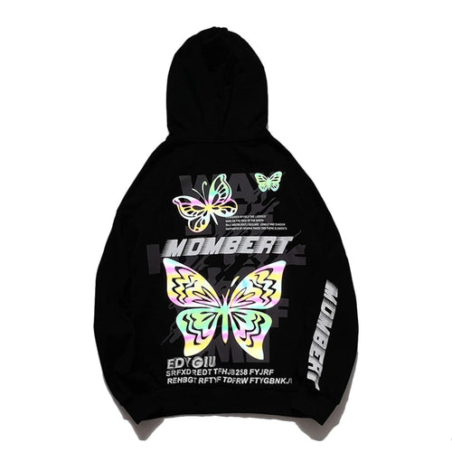 COLORFUL BUTTERFLY REFLECTIVE PRINTED HOODIES