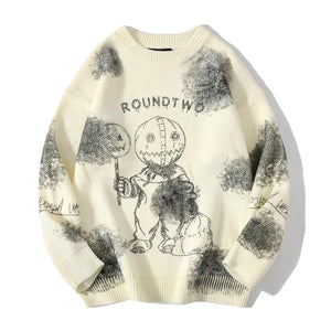 """DOLL"" TIE DIE PRINTED KNITTED SWEATER"