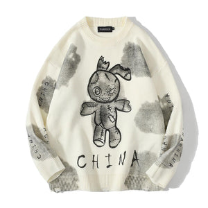 """BEAR"" TIE DIE PRINTED KNITTED SWEATER"