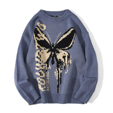 Load image into Gallery viewer, BLACK BUTTERFLIY PRINTED KNITTED SWEATER