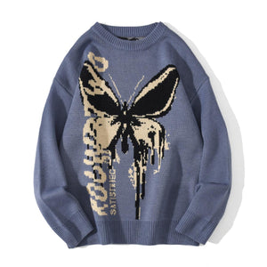 BLACK BUTTERFLIY PRINTED KNITTED SWEATER