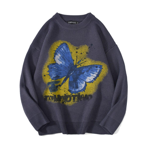 BLUE BUTTERFLIY PRINTED KNITTED SWEATER