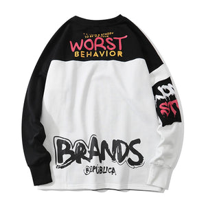 """WORST BEHAVIOR"" PRINTED SWEATSHIRT"