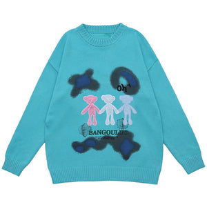 """OH"" PRINTED KNITTED SWEATER"