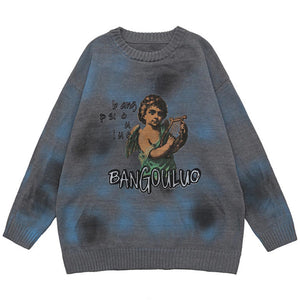 """LITTLE ANGEL"" TIE DIE PRINTED KNITTED SWEATER"