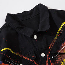 "Load image into Gallery viewer, ""PAINTING BUTTERFLY"" GRAFFITI DENIM JACKET"