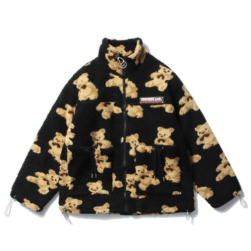 BEAR PRINTED FLEECE JACKET