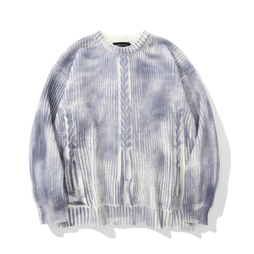 DISTRESSED TIE DYE KNITTED SWEATER