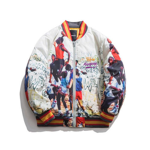 RETRO PRINTED VARSITY JACKET