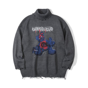 BLEEDING BEAR HIGH COLLAR KNITTED SWEATER
