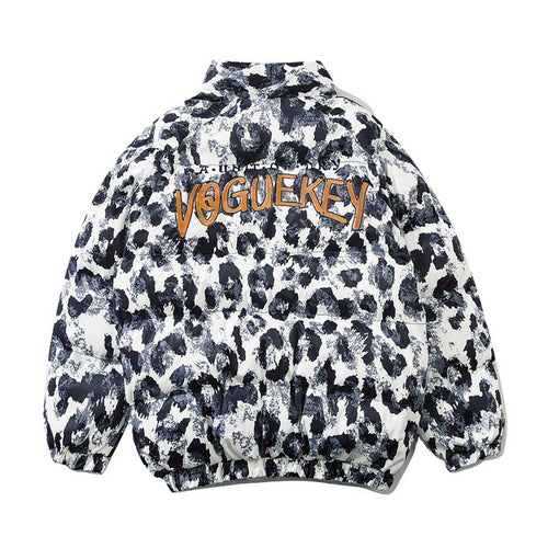 LEOPARD STAND-UP COLLAR COTTON JACKET