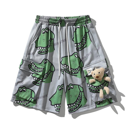 BEAR DOLL DINOSAUR PRINTED CARGO SHORTS