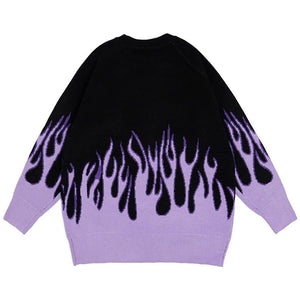 EMBROIDERY BUTTERFLY FLAME KNITTED SWEATER