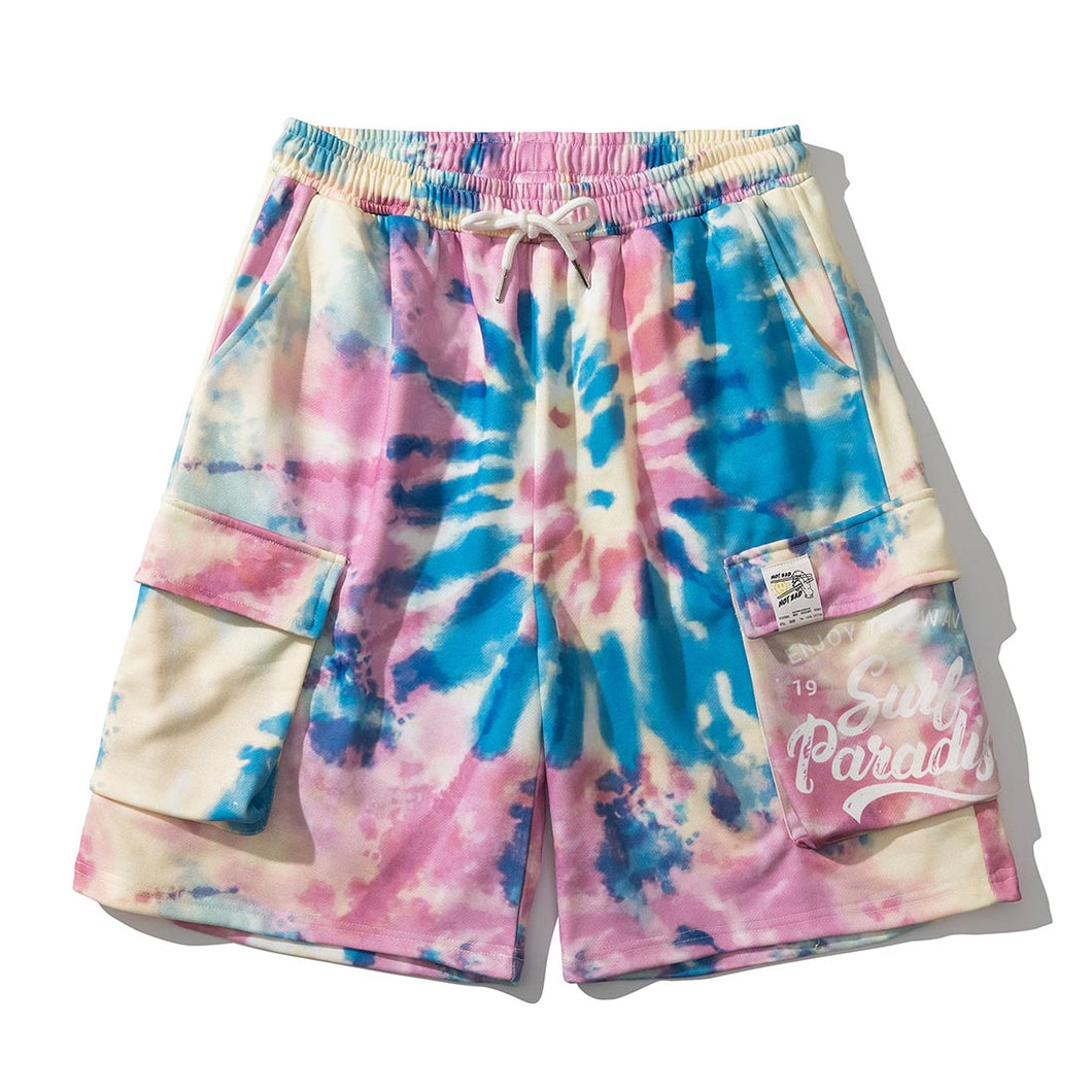 SWIRL TIE-DYED PRINTED CARGO SHORTS