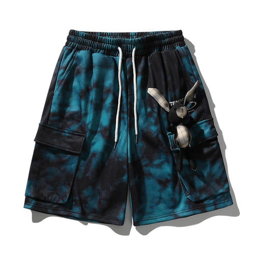 RABBIT DOLL TIE DYED PRINTED CARGO SHORTS
