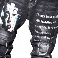 Load image into Gallery viewer, RETRO PRINTED FRAYED SKINNY JEANS