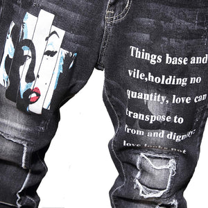 RETRO PRINTED FRAYED SKINNY JEANS