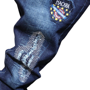 """684"" EMBROIDERY WASH FRAYED SKINNY JEANS"