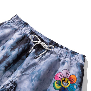 TIE-DYED FLOWER PRINTED SHORTS