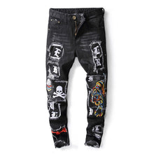 "Load image into Gallery viewer, ""78"" EMBROIDERY WASH FRAYED SKINNY JEANS"