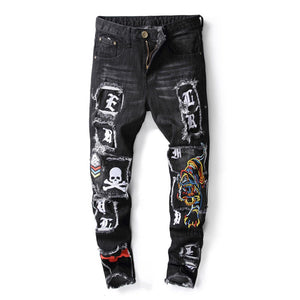 """78"" EMBROIDERY WASH FRAYED SKINNY JEANS"