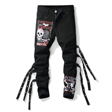 "Load image into Gallery viewer, ""DEVIL"" LACED UP SKINNY JEANS"