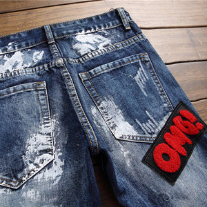 """OMG"" EMBROIDERY SKINNY JEANS"