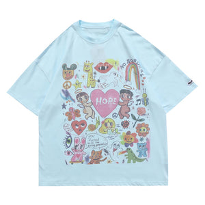 """HOPE"" CARTOON GRAFFITI PRINTED T-SHIRT"