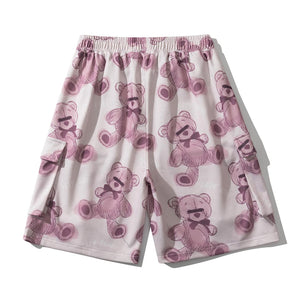 """LAZY BEAR"" PRINTED CARGO SHORTS"