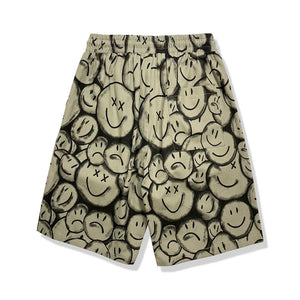 """HAPPY SAD"" PRINTED SHORTS"