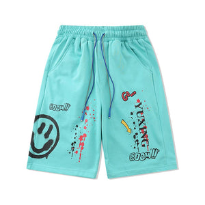 """BOOM"" SMILEY PRINTED SHORTS"