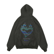 "Load image into Gallery viewer, ""BURNING HEART"" PRINTED REFLECTIVE HOODIES"