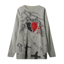 "Load image into Gallery viewer, ""LIGHTING HEART"" PRINTED SHREDDED KNITTED SWEATER"