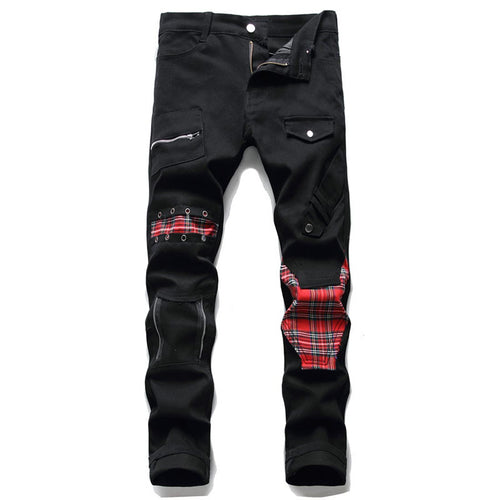 PATCH PLAID STITCHING SKINNY JEANS