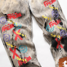 "Load image into Gallery viewer, ""JEANS"" GRAFFITI TIE DYE SKINNY JEANS"
