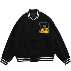 SMILEY EMBROIDERY BASEBALL JACKET