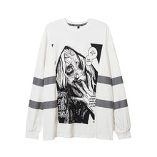 "Load image into Gallery viewer, ""STARVING"" REFLECTIVE STRIPES SWEATSHIRT"